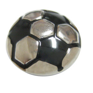 Black and Silver Toned Soccer Ball Pendant Magnet